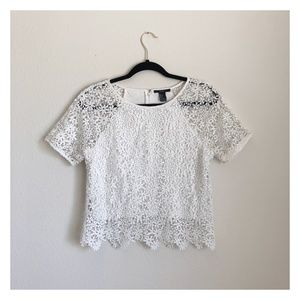 Forever 21 White Crochet Top